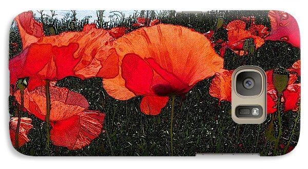 Galaxy Case featuring the photograph Red Poppy Flowers In Grassland by Jean Bernard Roussilhe
