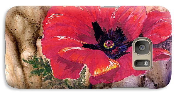 Galaxy Case featuring the painting Red Poppy by Sherry Shipley