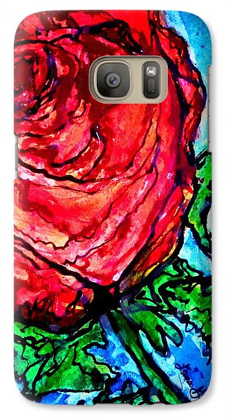 Galaxy Case featuring the painting Red Red Rose by Laura  Grisham