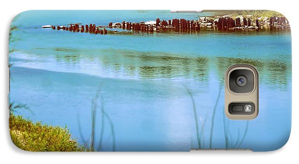 Galaxy Case featuring the photograph Red River Crossing Old Bridge by Diana Mary Sharpton