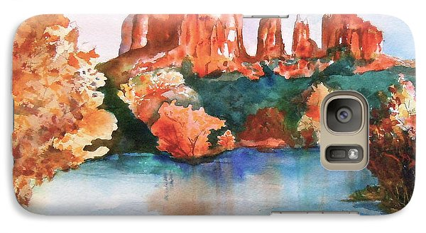 Galaxy Case featuring the painting Red Rock Crossing by Sharon Mick