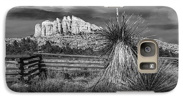 Galaxy Case featuring the photograph Red Rock Formation In Sedona Arizona In Black And White by Randall Nyhof