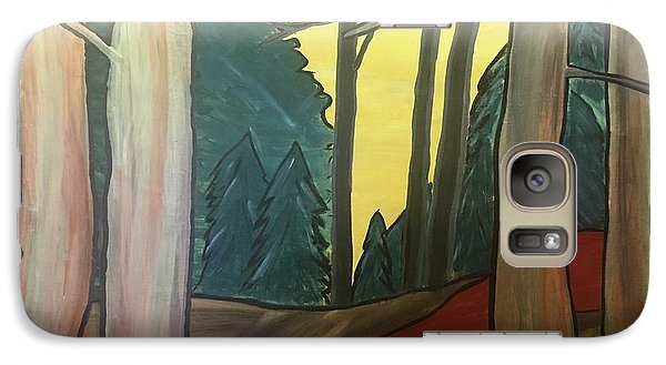Galaxy Case featuring the painting Red Rock In Woods by Paula Brown