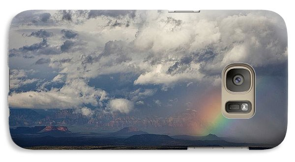 Galaxy Case featuring the photograph Red Rocks Rain And Rainbow by Ron Chilston