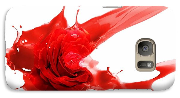 Galaxy Case featuring the mixed media Red Rose by Gabriella Weninger - David