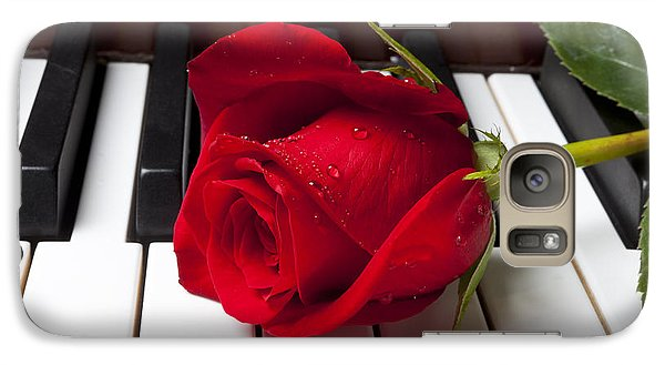 Flowers Galaxy S7 Case - Red Rose On Piano Keys by Garry Gay