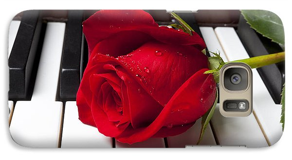 Red Rose On Piano Keys Galaxy Case by Garry Gay