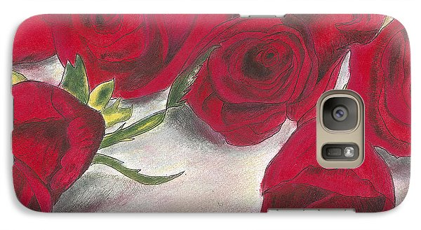 Galaxy Case featuring the drawing Red Rose Redux by Arlene Crafton