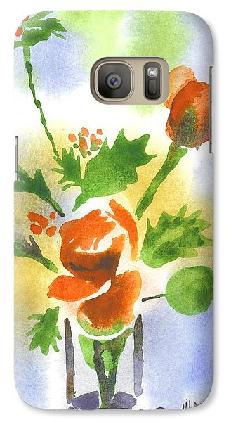 Galaxy Case featuring the painting Red Roses With Holly by Kip DeVore