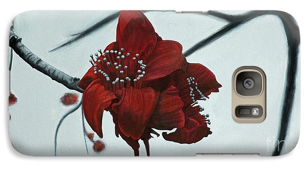 Galaxy Case featuring the painting Red Silk Cotton Flower by Jennifer Watson