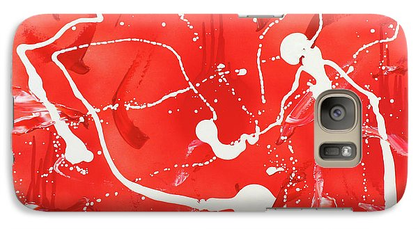 Galaxy Case featuring the painting Red Spill by Thomas Blood