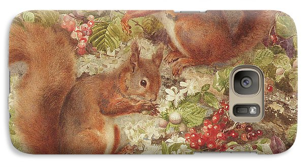 Red Squirrels Gathering Fruits And Nuts Galaxy Case by Rosa Jameson