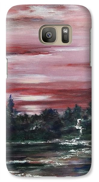 Galaxy Case featuring the painting Red Sun Set  by Laila Awad Jamaleldin