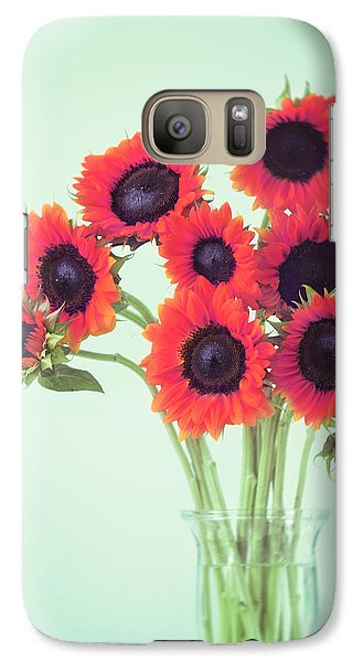 Galaxy Case featuring the photograph Red Sunflowers by Amy Tyler