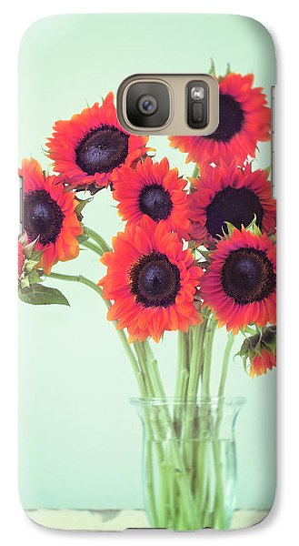 Sunflower Galaxy S7 Case - Red Sunflowers by Amy Tyler