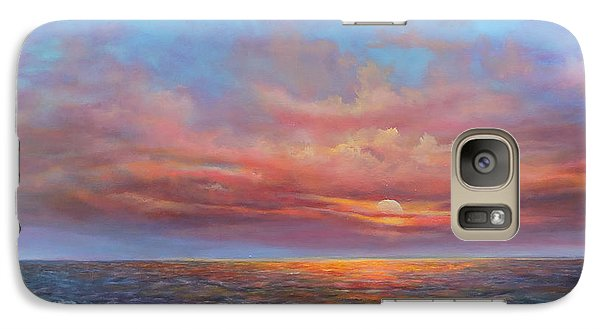 Galaxy Case featuring the painting Red Sunset At Sea by Katalin Luczay