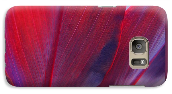 Galaxy Case featuring the photograph Red Ti Leaves At Last Light by Kerri Ligatich