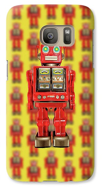 Galaxy Case featuring the photograph Red Tin Toy Robot Pattern by YoPedro