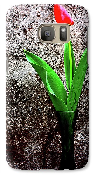 Galaxy Case featuring the photograph Red Tulip by Gray  Artus