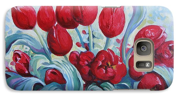Galaxy Case featuring the painting Red Tulips by Elena Oleniuc