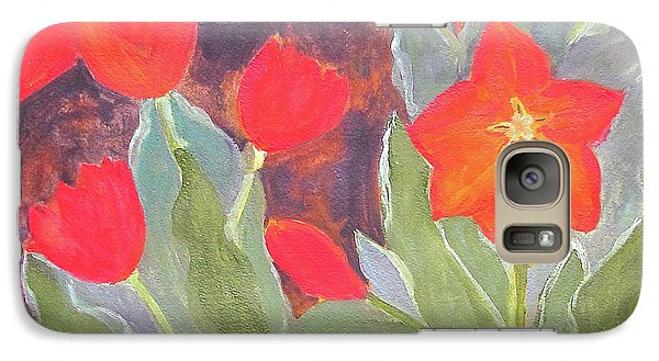 Galaxy Case featuring the painting Red Tulips by Sandy McIntire