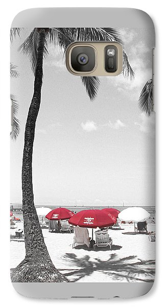 Galaxy Case featuring the photograph Red Umbrellas On Waikiki Beach Hawaii by Kerri Ligatich