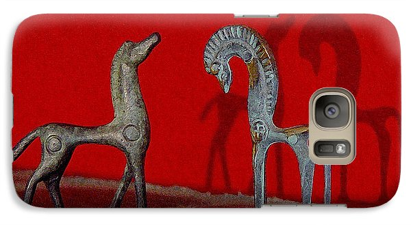 Galaxy Case featuring the digital art Red Wall Horse Statues by Jana Russon