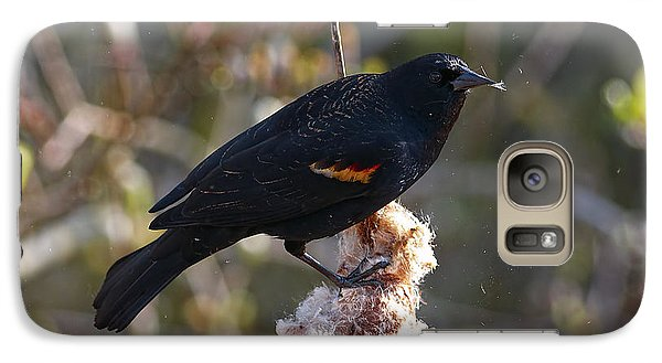 Galaxy Case featuring the photograph Red-winged Blackbird On Cattail Reed by Sharon Talson