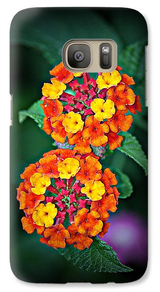 Galaxy Case featuring the photograph Red Yellow And Orange Lantana by KayeCee Spain