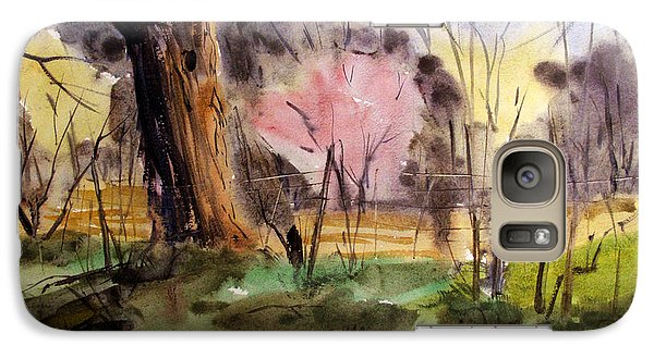 Galaxy Case featuring the painting Redbuds And Morels Matted Glassed Framed by Charlie Spear