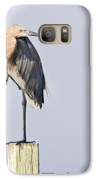 Galaxy Case featuring the photograph Reddish Egret On Piling by Bob Decker