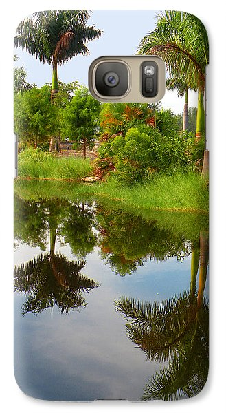 Galaxy Case featuring the photograph Reflected Palms by Rosalie Scanlon