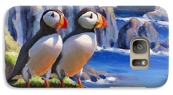 Galaxy Case featuring the painting Reflecting - Horned Puffins - Coastal Alaska Landscape by Karen Whitworth