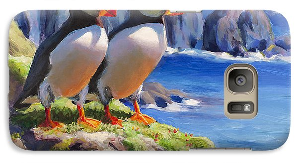 Puffin Galaxy S7 Case - Reflecting - Horned Puffins - Coastal Alaska Landscape by Karen Whitworth