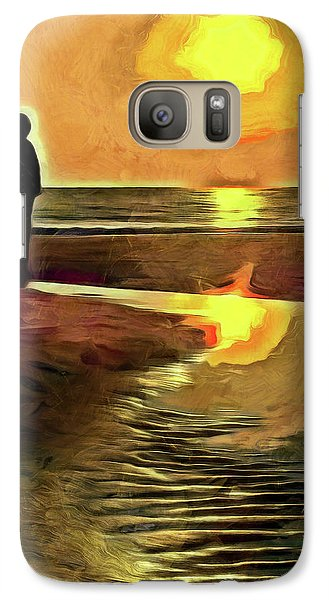 Galaxy Case featuring the mixed media Reflecting On The Day by Trish Tritz