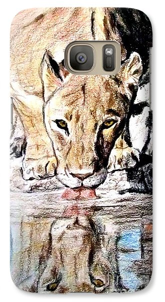 Galaxy Case featuring the drawing Reflection Of A Lioness Drinking From A Watering Hole by Jim Fitzpatrick