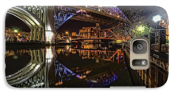 Galaxy Case featuring the photograph Reflections Of Veterans Memorial Bridge  by Brent Durken