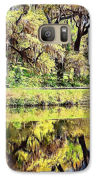Galaxy Case featuring the photograph Reflective Live Oaks by Donna Bentley