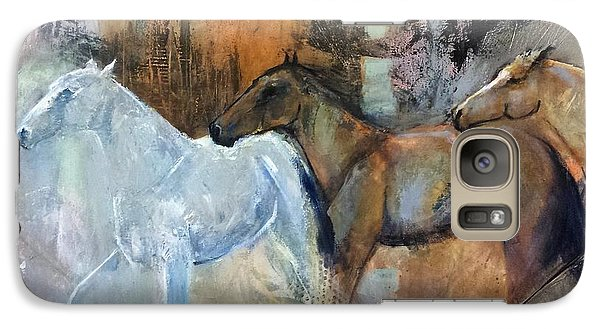Galaxy Case featuring the painting Reflextion Of The White Horse by Frances Marino