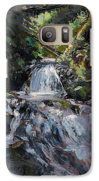 Galaxy Case featuring the painting Refreshed - Rainforest Waterfall Impressionistic Painting by Karen Whitworth