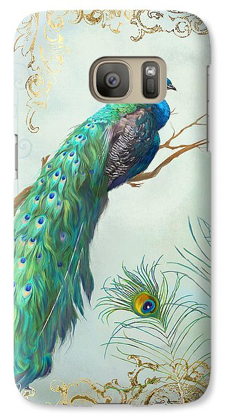 Regal Peacock 1 On Tree Branch W Feathers Gold Leaf Galaxy S7 Case by Audrey Jeanne Roberts
