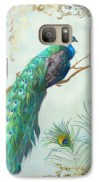 Regal Peacock 1 On Tree Branch W Feathers Gold Leaf Galaxy Case by Audrey Jeanne Roberts