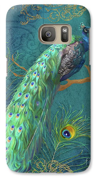 Peacock Galaxy S7 Case - Regal Peacock 3 Midnight by Audrey Jeanne Roberts
