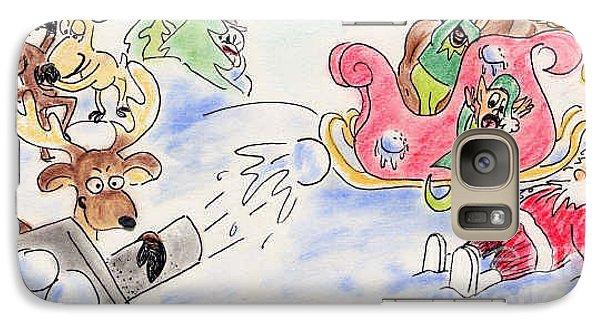 Galaxy Case featuring the pastel Reindeer Games by Vonda Lawson-Rosa