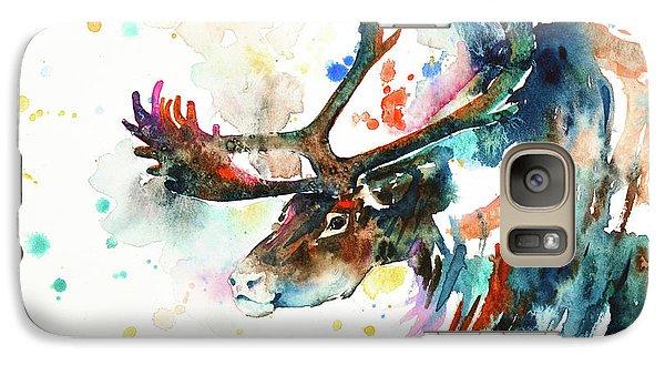 Galaxy Case featuring the painting Reindeer by Zaira Dzhaubaeva