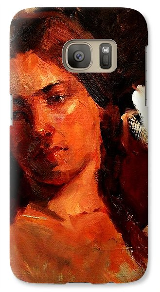 Galaxy Case featuring the painting Religious Portrait Of A Young Boy Man Or Woman Reclining In Dramatic Thought Mystery Strong Cont by M Zimmerman MendyZ