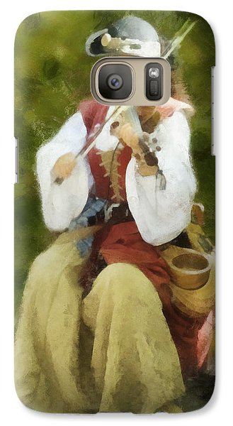 Galaxy Case featuring the digital art Renaissance Fiddler Lady by Francesa Miller