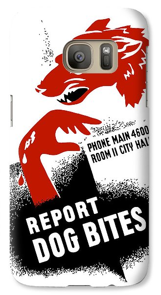 Galaxy Case featuring the mixed media Report Dog Bites - Wpa by War Is Hell Store
