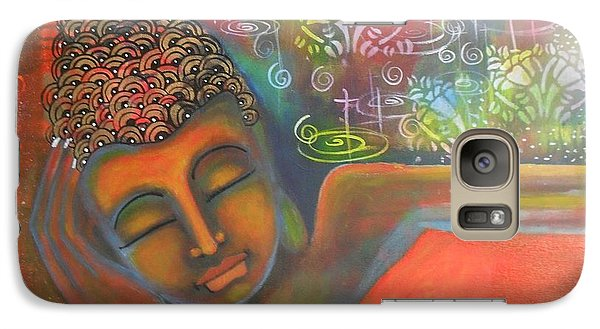 Galaxy Case featuring the painting Buddha Resting Against A Colorful Backdrop by Prerna Poojara
