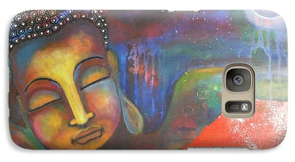 Galaxy Case featuring the painting Buddha Resting Under The Full Moon  by Prerna Poojara
